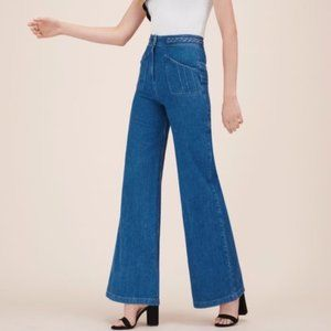 MAJE Phil high-rise wide-leg jeans NWT